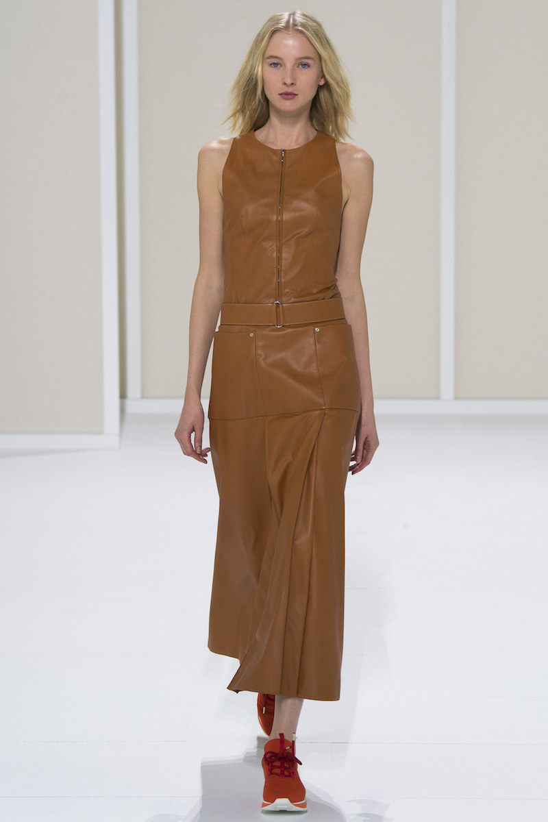 HERMÈS SS16 tan leather midi dress sneakers
