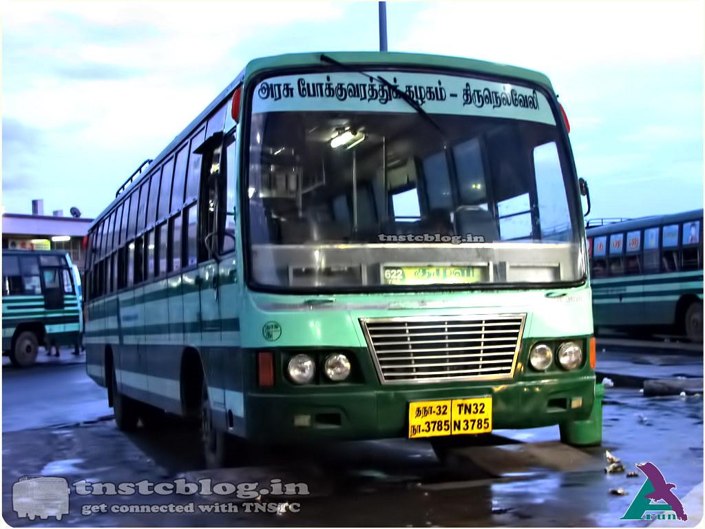 TN-32N-3785 of Kanyakumari Depot Route 622 Kanyakumari - Kumuli via Nagercoil, Tirunelveli, Rajapalayam, Theni.