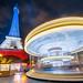 Eiffel Tower, carrousel, full moon, French Flag by Loïc Lagarde