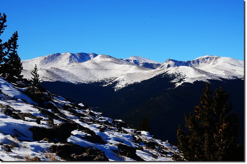 Overlooking southwest onto Mount Evans Massif from the Chief Mountain Trail 1