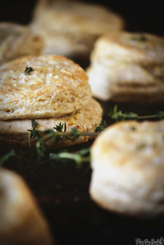 Serve these fresh Lemon and thyme buttermilk biscuits warm with soft butter for spreading. PasstheSushi.com