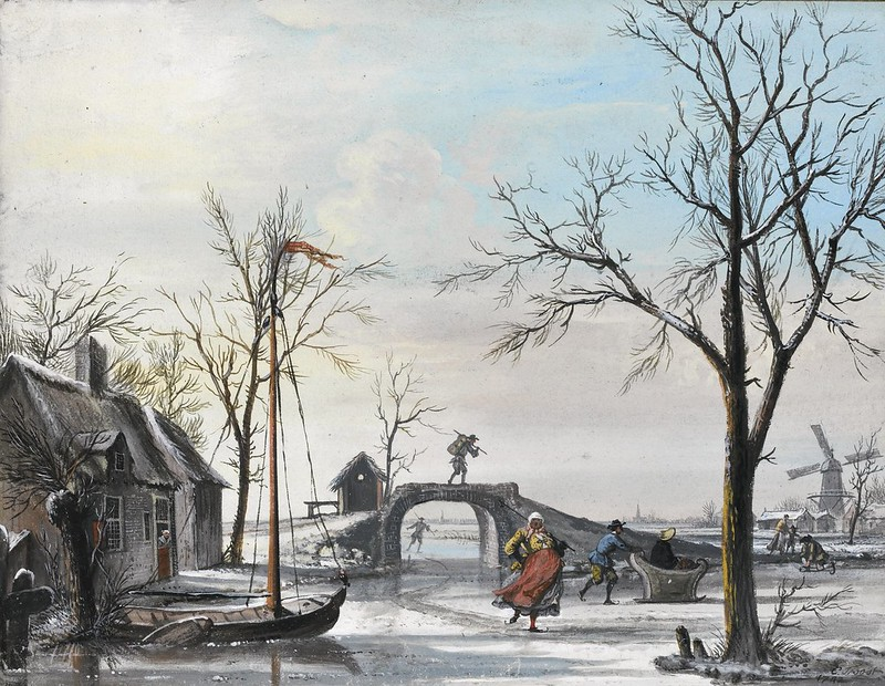 Cornelis Troost - Winter Landscape With Skaters (1742)