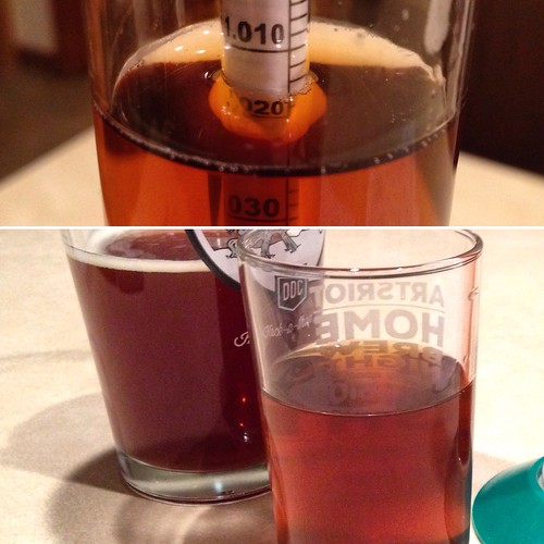 Honestatis Mk. III bottling day. Finishing gravity 1.015 (down from 1.058). And look at that color compared to the first batch from back in May. #homebrewing