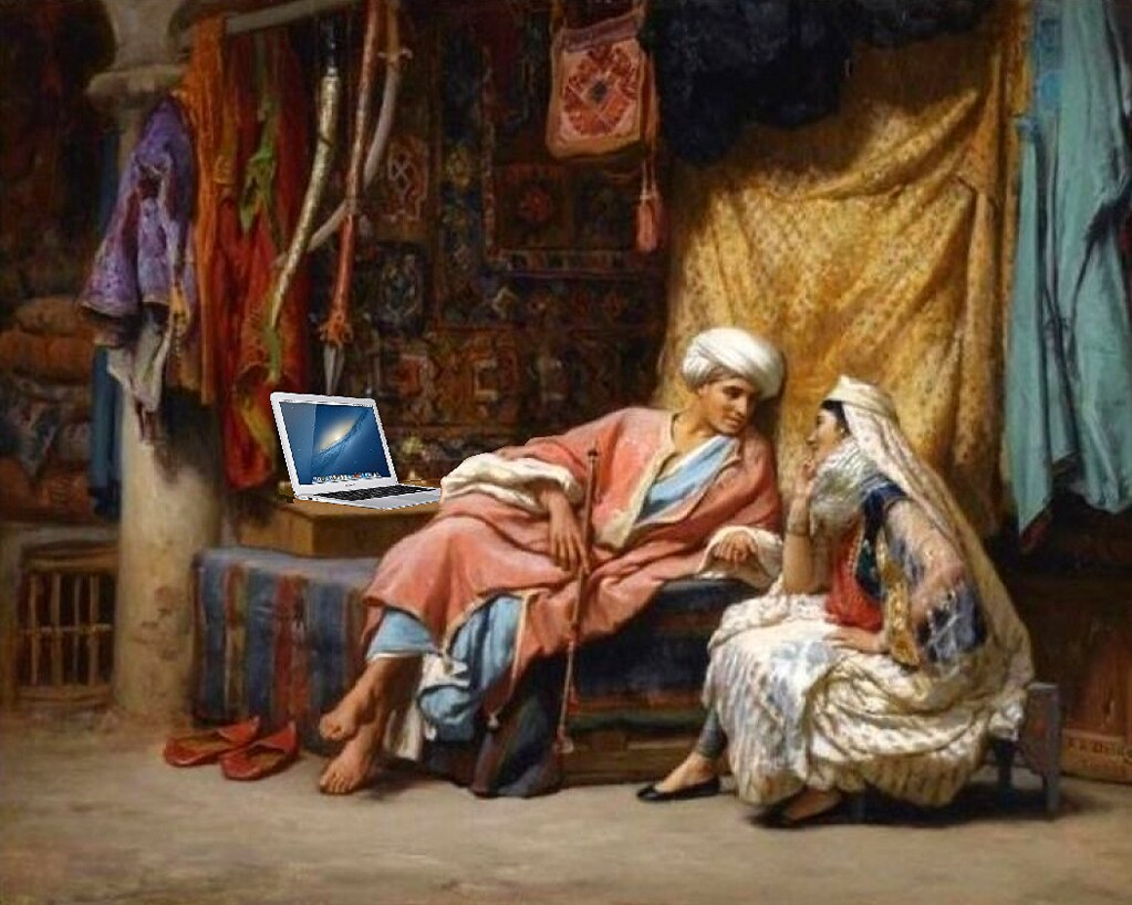 Blogging in the Souk of Tunis, after Frederick Arthur Bridgman