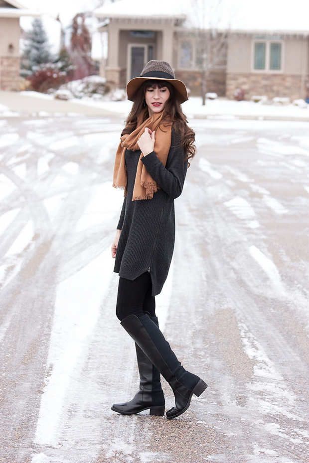 Grey Sweater Dress, Blanket Scarf, Knee High Boots, Floppy Hat