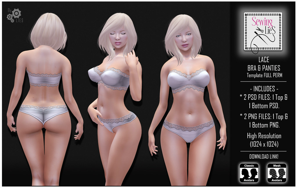 Lace Bra & Panties Template - SewingLies - SecondLifeHub.com