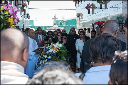 Family and close friends say goodbye at St. Louis Cemetery #3 during the funeral for Edwin Harrison on October 21, 2016. Photo by Ryan Hodgson-Rigsbee - rhrphoto.com