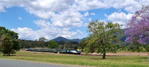 Sydney to Casino (NSW) passenger service #NT33 departs Mount George, NSW