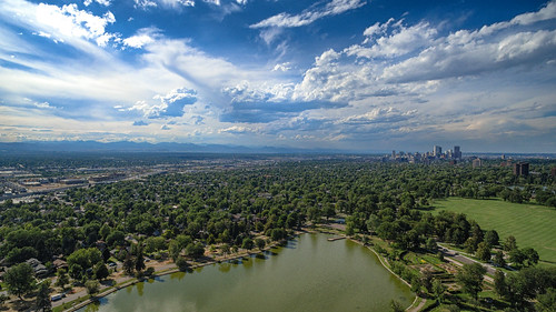 denver colorado unitedstates us aerial dji inspire 1 wash park trees water city mountains i25 highway green space clouds dramatic drone dronography photography