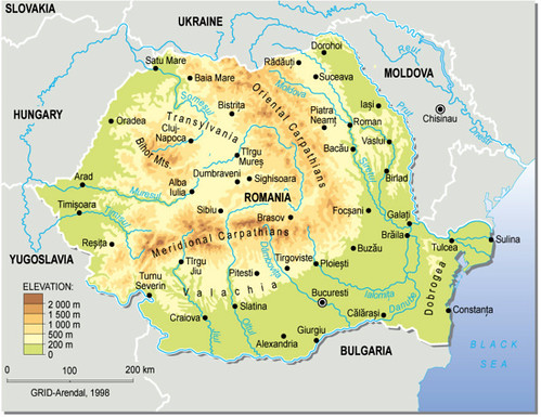 Romania Topographic Map GRIDArendal - Norway topographic map