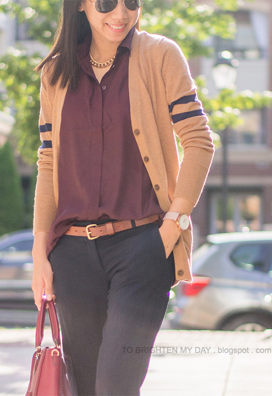camel varsity stripe sweater, burgundy top, navy pants
