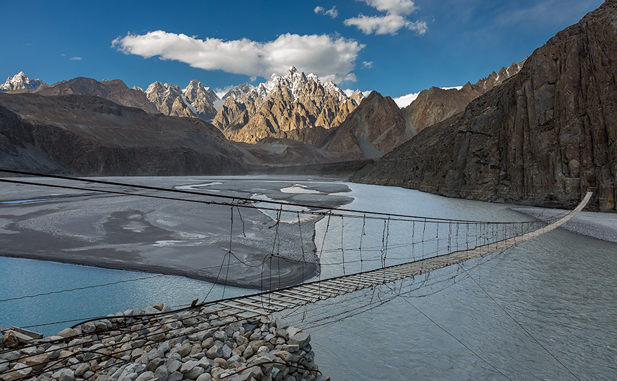 Hussaini Suspension Bridge on Hunza River