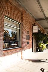 Brick wall with shop window