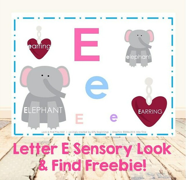 Letter E Sensory Look & Find Freebie