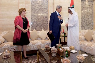 Secretary Kerry and Ambassador Leaf Stand With U.A.E. Crown Prince Mohammed bid Zayed in the Mina Palace
