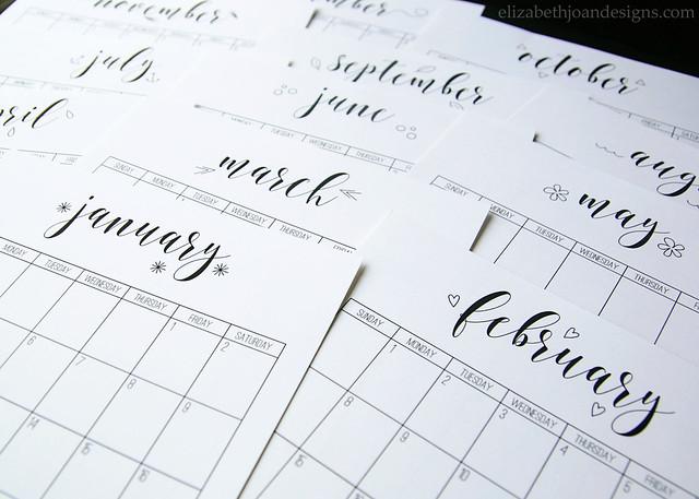 2016 Calendar Months