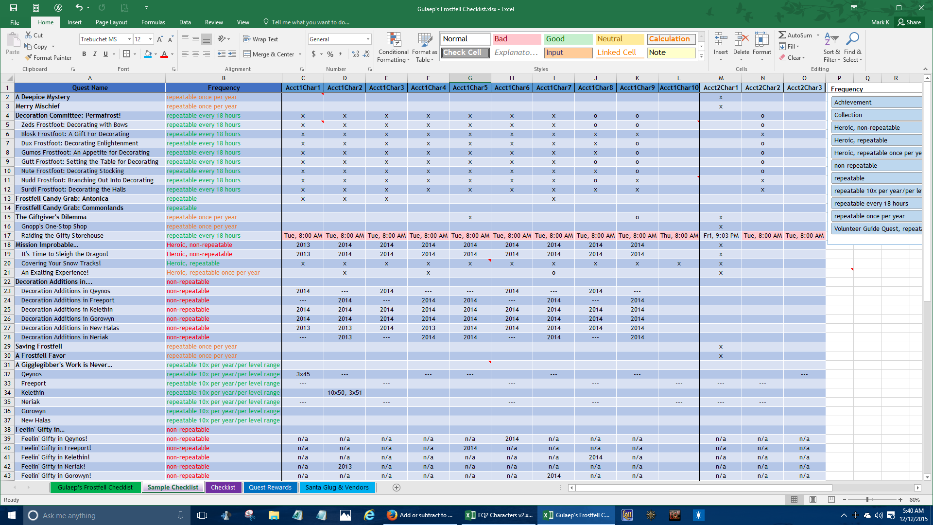 how to make a checklist in excel