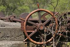 Sluice gate control wheel, Robert Noble flour-mill dam, 1912 - Norval, Halton Hills, Ontario.