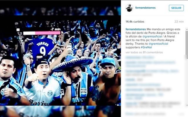 Fernando Torres agradece torcida gremista no Instagram; entenda!