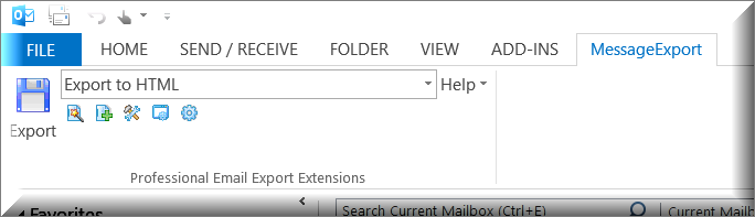 "MessageExport addon toolbar is shown with ""Export to HTML"" selected."
