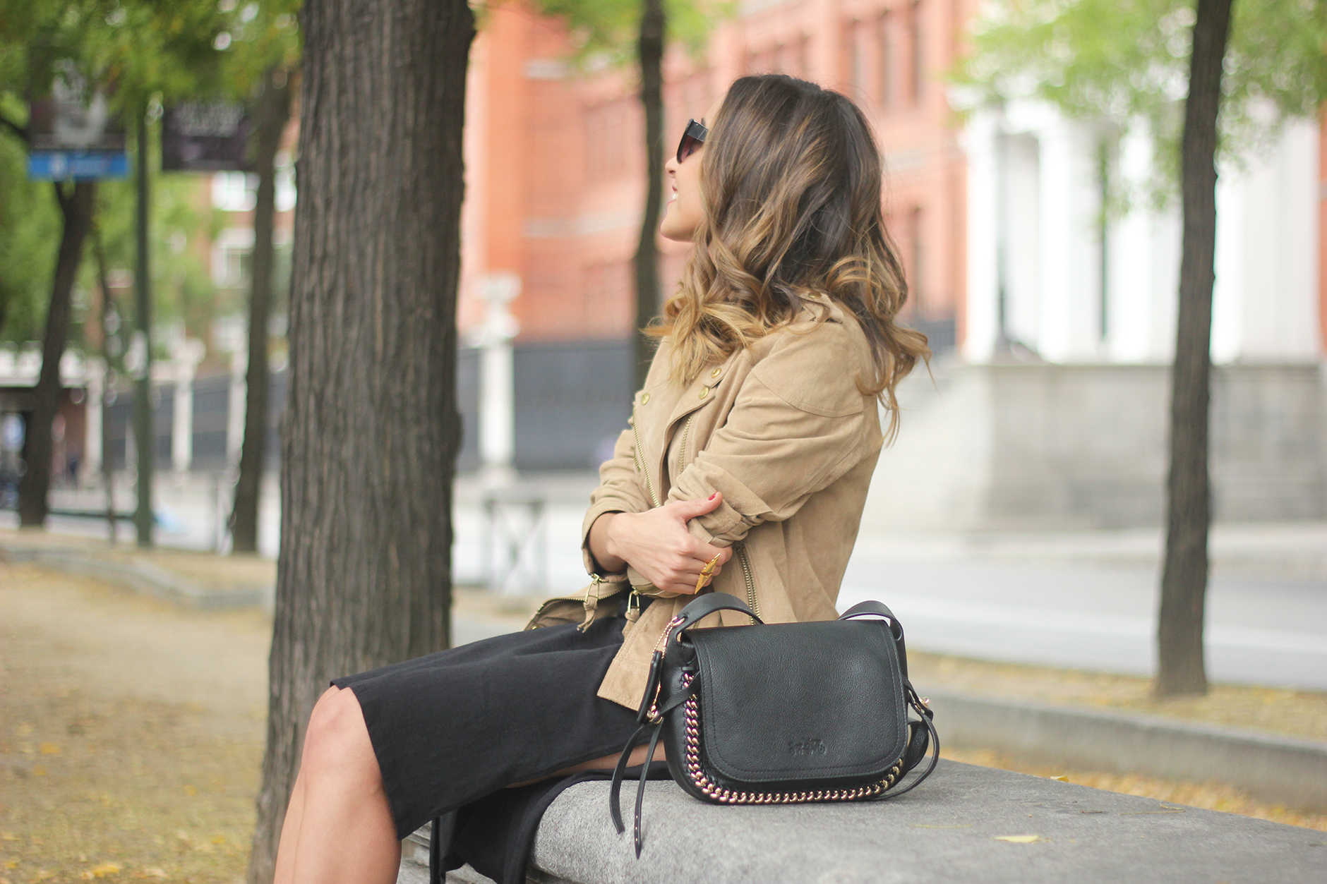 Suede Jacket Black Dress Coach Bag style fall outfit autumn23