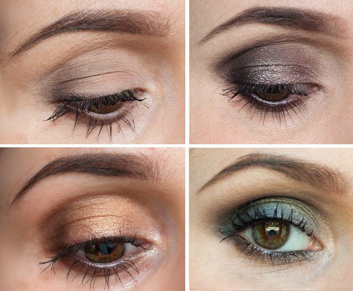 four looks using Urban Decay Smoky palette