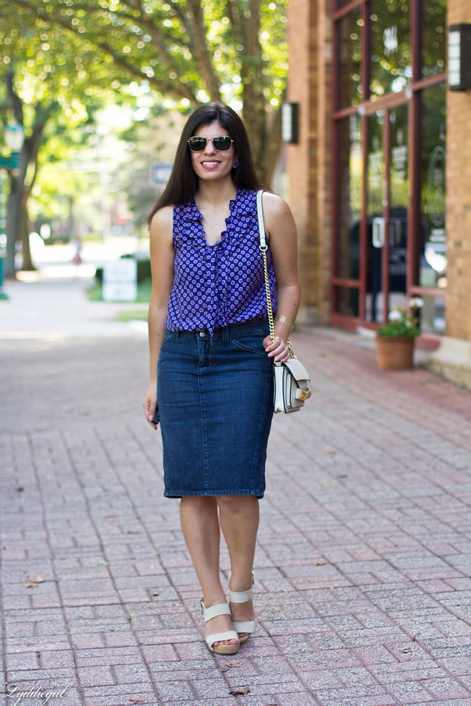 purple printed blouse, denim pencil skirt.jpg