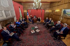 U.S. Secretary of State John Kerry holds a bilateral meeting with Chilean President Michelle Bachelet at the at the Cerro Castillo Presidential House in Valparaiso, Chile, on October 5, 2015. [State Department photo/ Public Domain]