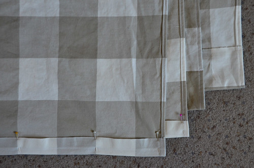 12 Iron, Pin, & Sew hem for top of curtain (large enough for curtain rod)
