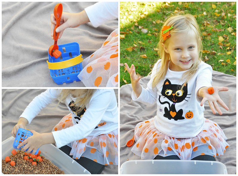 Edible Pumpkin Patch Sensory Bin Play