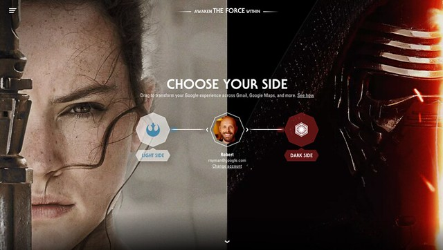 Star Wars, Google, chose light or dark side