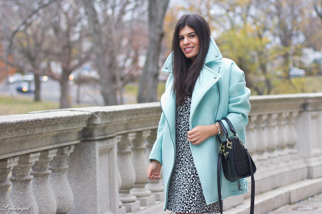 leopard print dress, mint green cocoon coat, over the knee boots-1.jpg