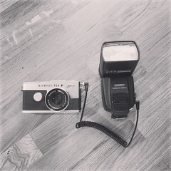 Olympus Pen FT with PC Sync cord to manual flash