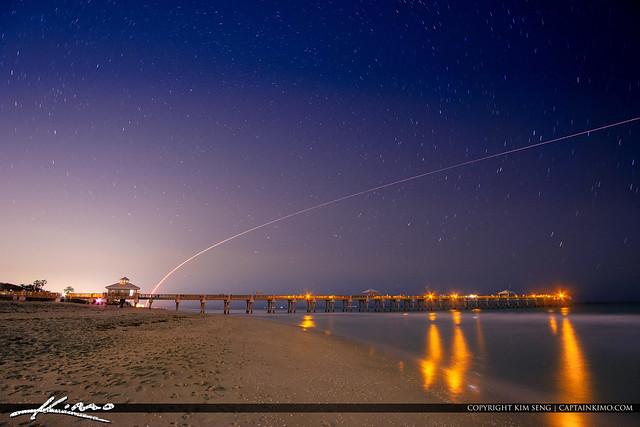 Juno Beach Pier Atlas Rocket Launch at Night