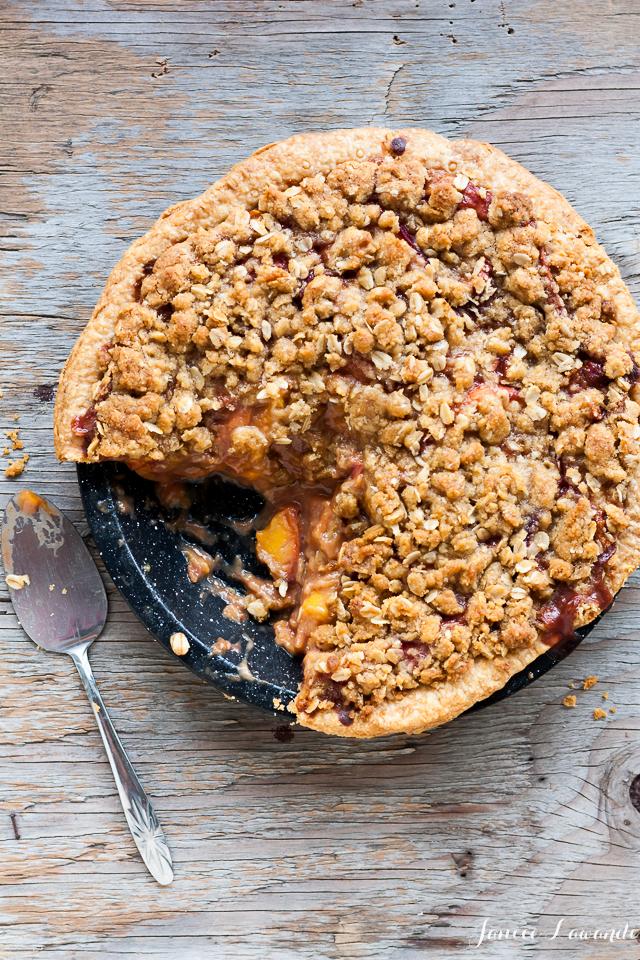 Whiskey peach crumble pie Janice Lawandi @ kitchen heals soul