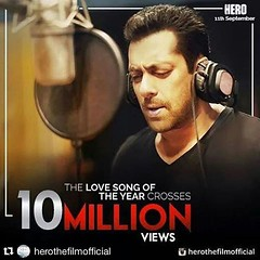 Salman Khan\'s #MainHoonHeroTera has broken all records with a staggering 10 million plus views. Have you listen to this song yet ?