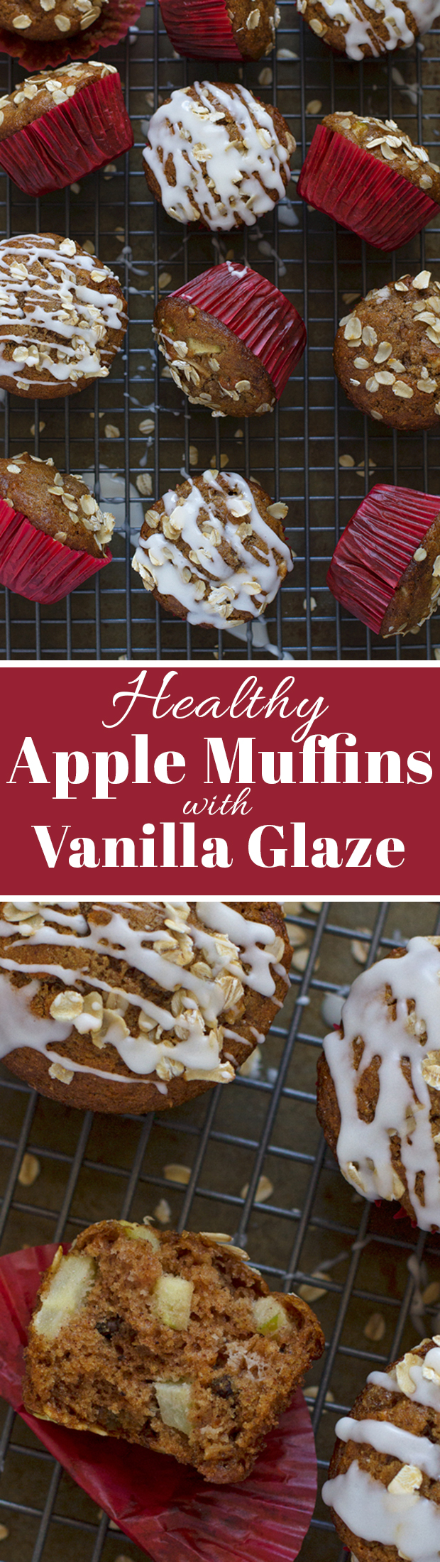 Healthy Apple Muffins with Vanilla Glaze  - Light on the sugar but SO GOOD! #applemuffins #muffins #healthymuffins | Littlespicejar.com