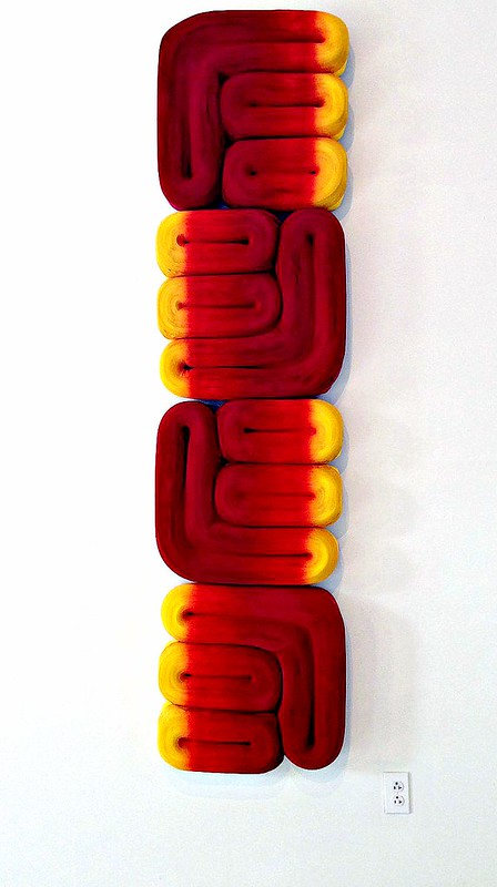 Jae Ko Red and Yellow Paper Sculpture