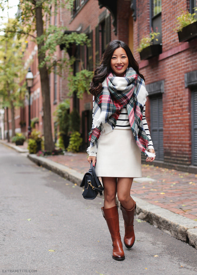 fall outfit blanket scarf riding boots