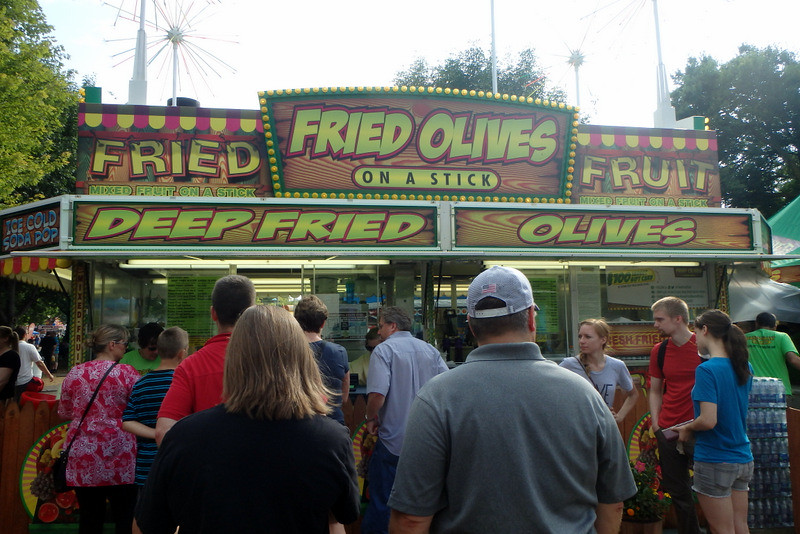 deep fried olives stand