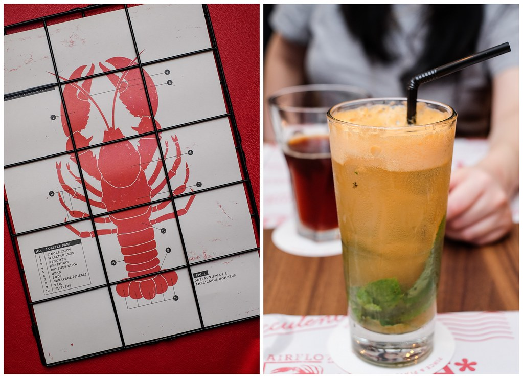 Pince and Pints Restaurant and Bar's drink and basic lobster anatomy diagram