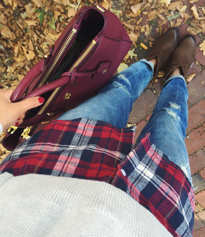 casual outfit booties plaid flannel shirt sweater