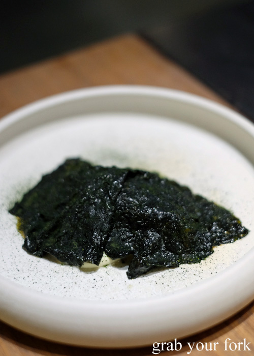 Steamed hapuka, cured roe emulsion and seaweed at Automata, Chippendale
