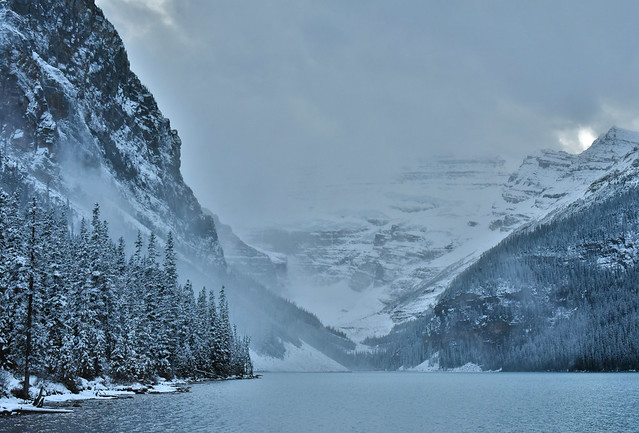 Lake Louise spring skiing unfrozen winter landscape