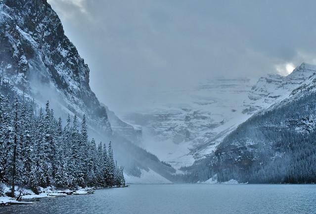 Lake Louise spring skiing unfrozen winter landscape