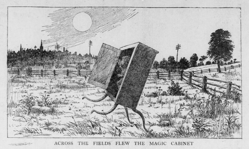 Walt McDougall - The Salt Lake herald., July 26, 1903, Last Edition, Across The Fields Flew The Magic Cabinet