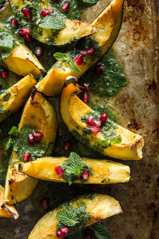 Roasted Acorn Squash with Mint Almond Pesto