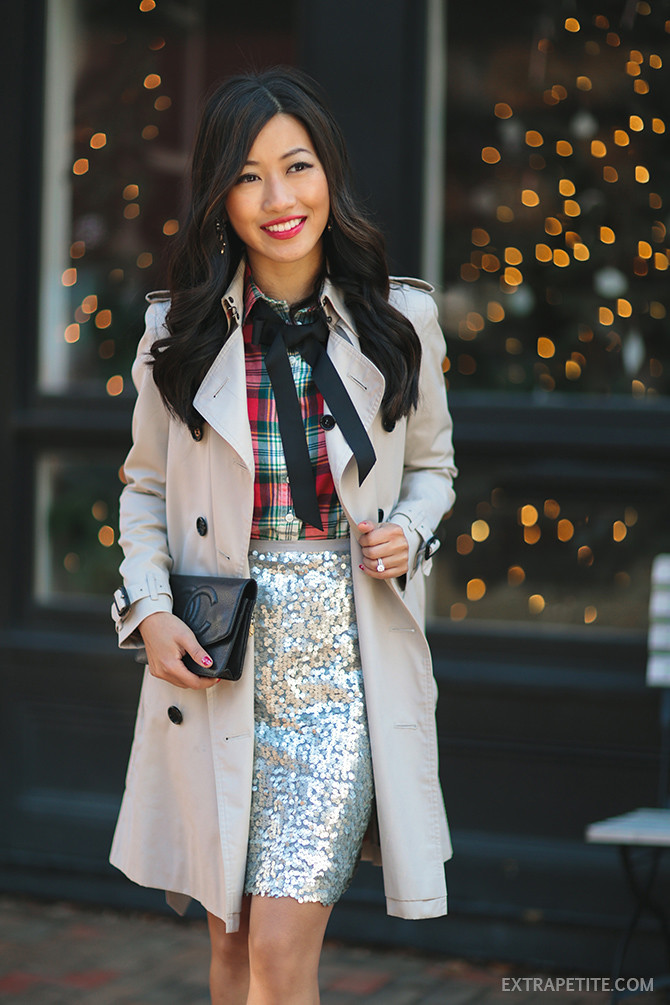 holiday work party outfit - sequin burberry trench bow