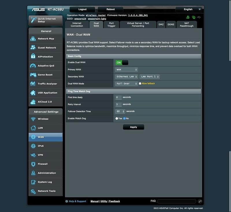 Asus RT-AC88U Router - UI - Dual WAN