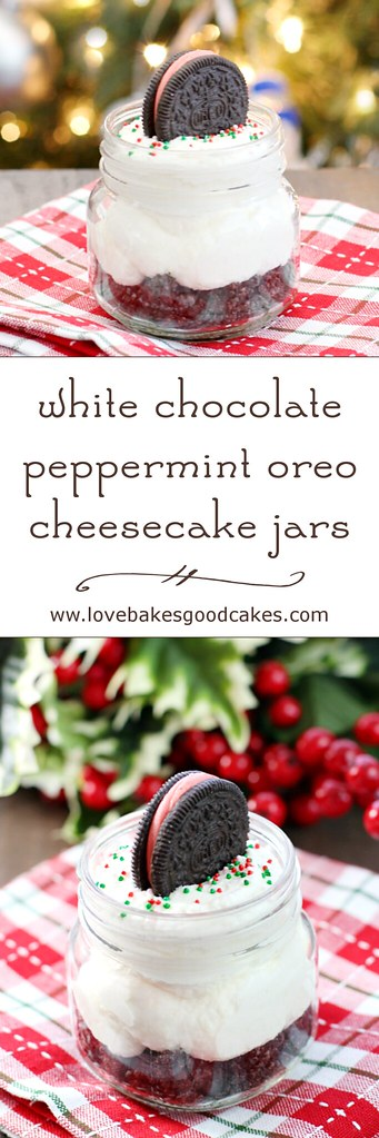 White Chocolate Peppermint Oreo Cheesecake Jars collage.